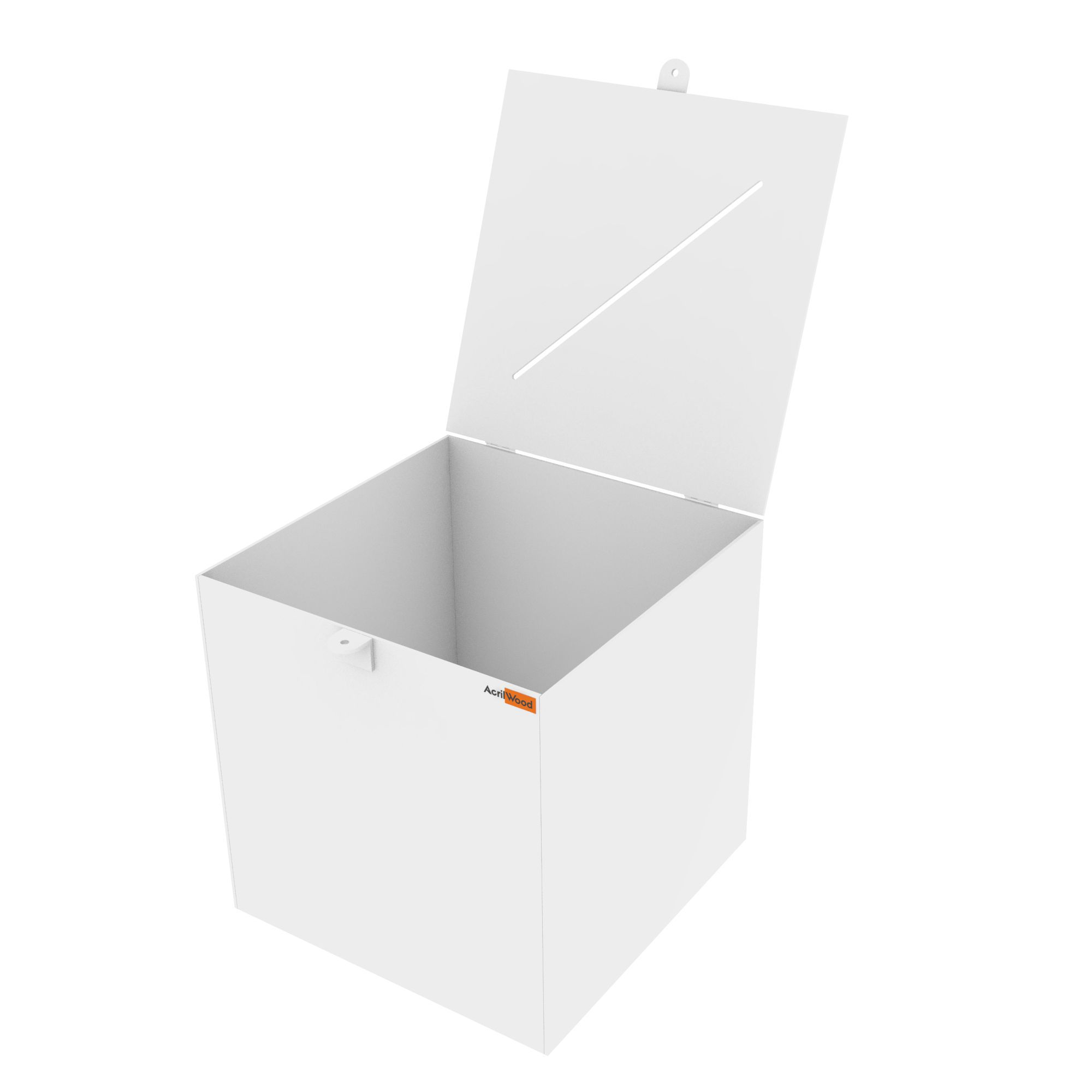 Urna Quadrada Em Acrílico Branco - 30x30x30cm