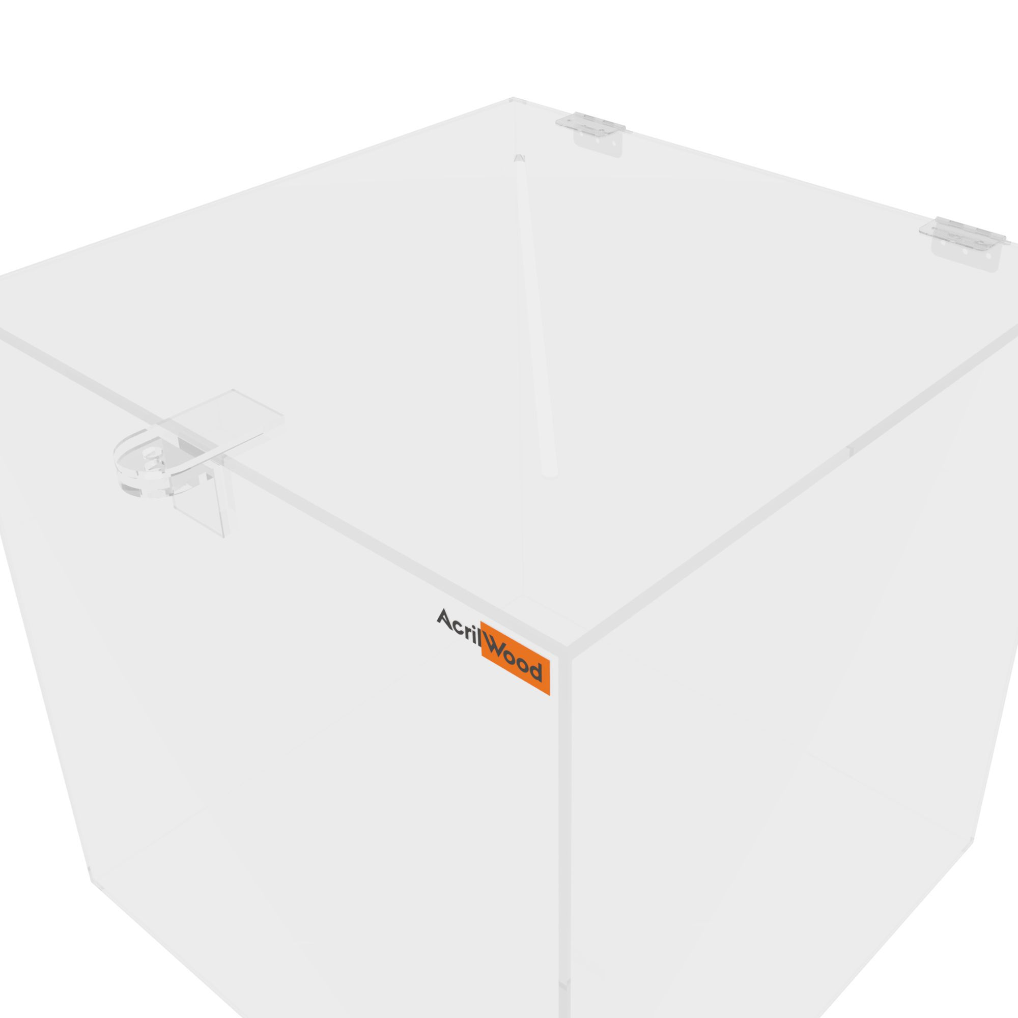 Urna Quadrada Em Acrílico Cristal -30x30x30cm