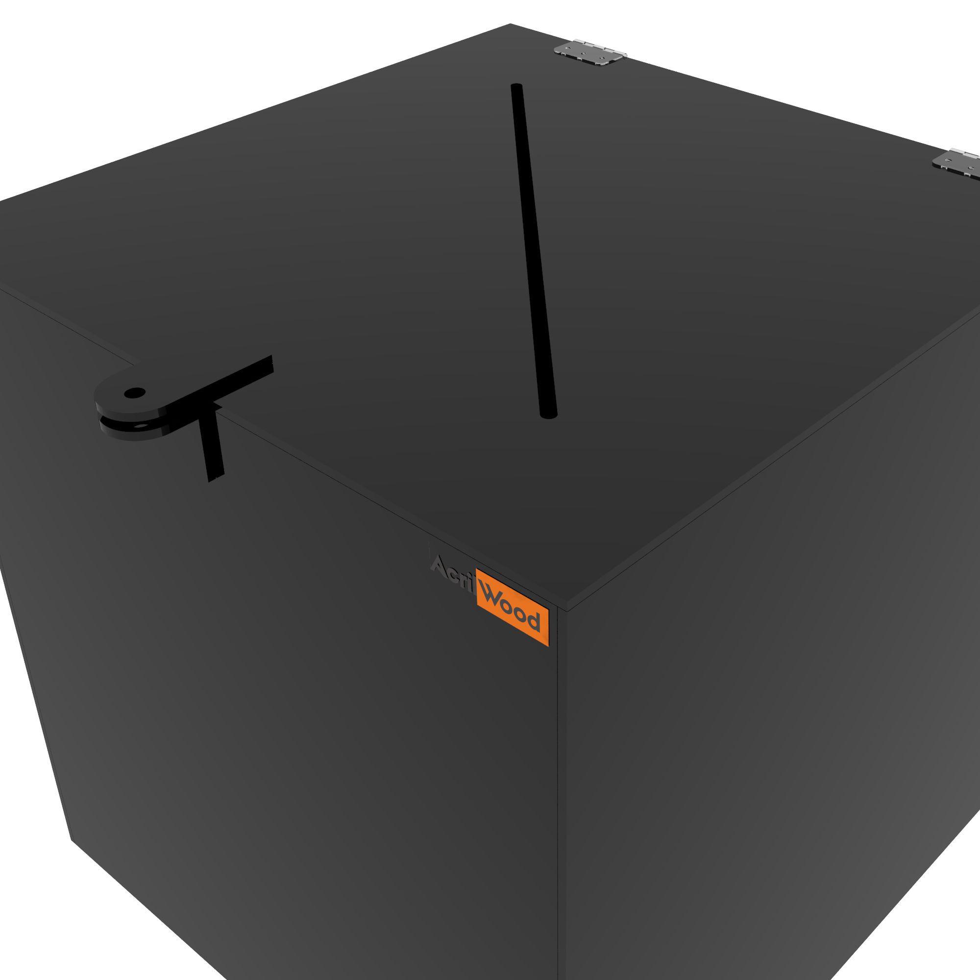 Urna Quadrada Em Acrílico Preto -30x30x30cm