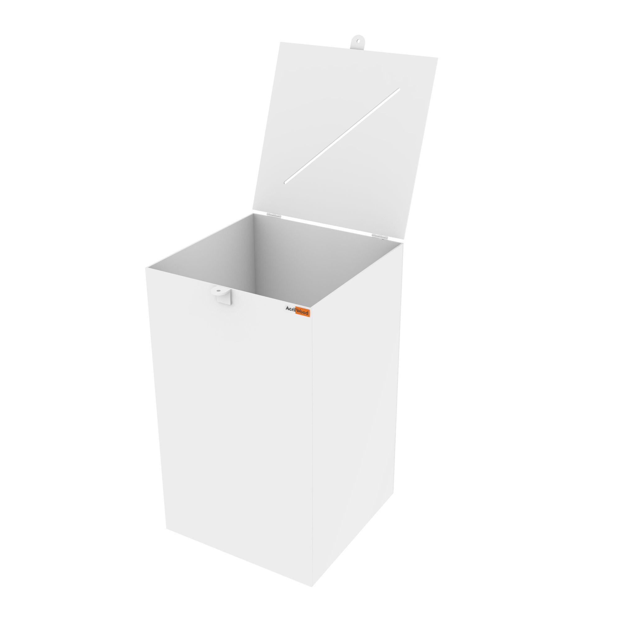 Urna Retangular Em Acrílico Branco - 30x30x50cm