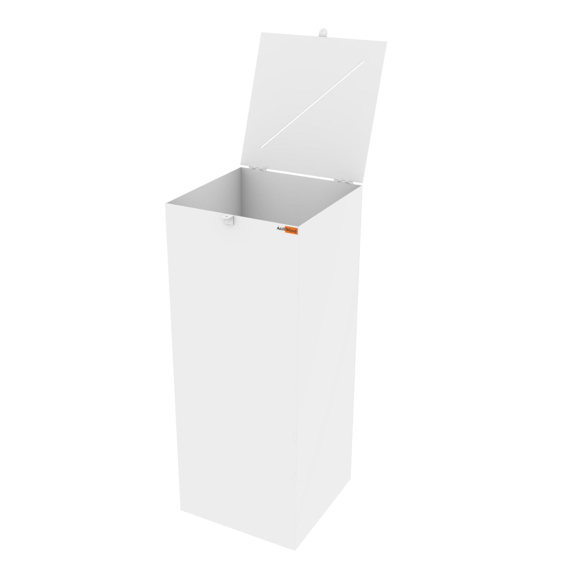 Urna Retangular Em Acrílico Branco - 40x40x100cm