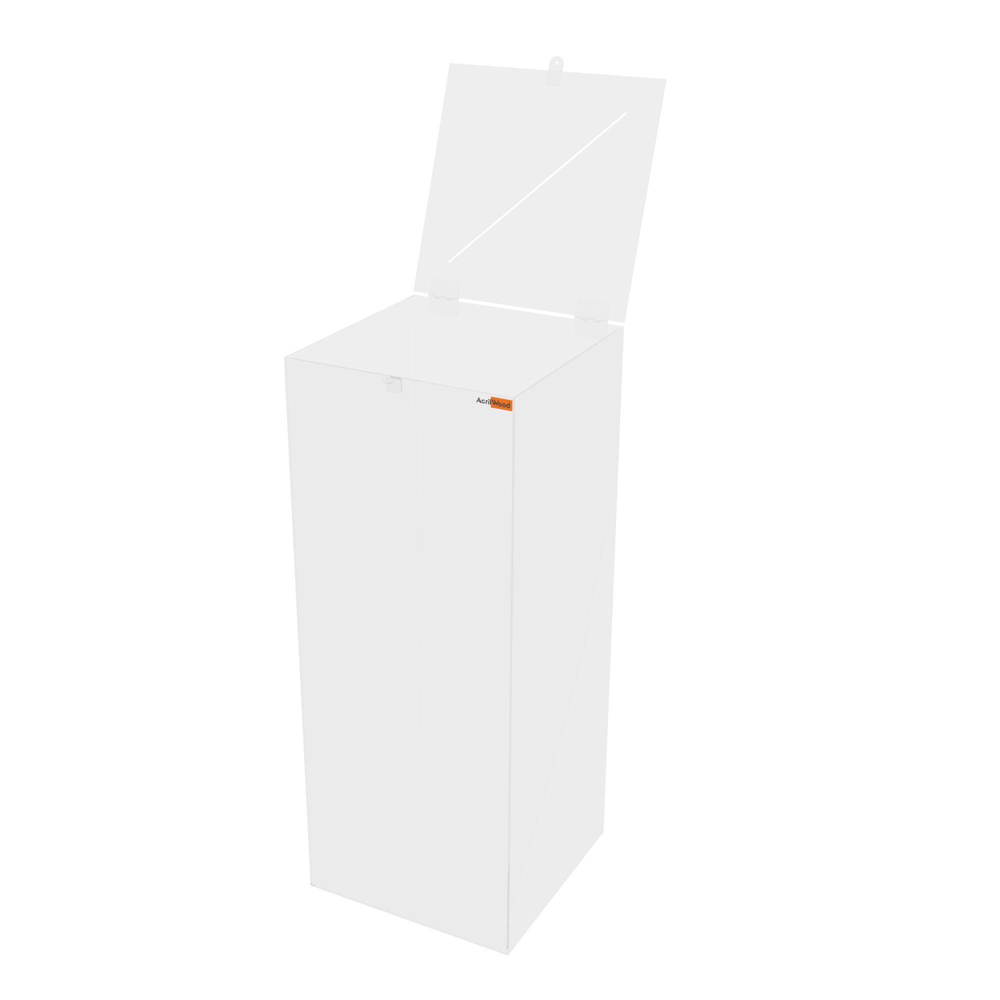 Urna Retangular Em Acrílico Cristal - 40x40x100cm