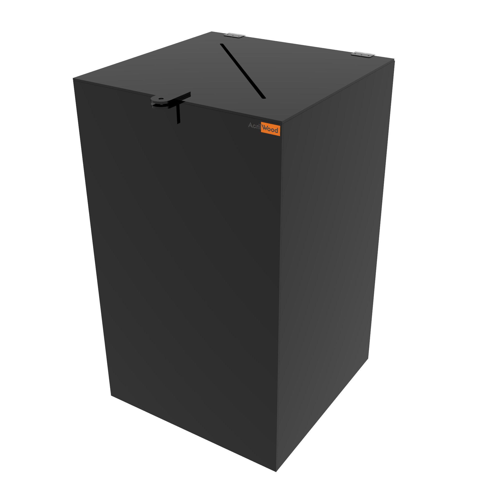Urna Retangular Em Acrílico Preto - 30x30x50cm