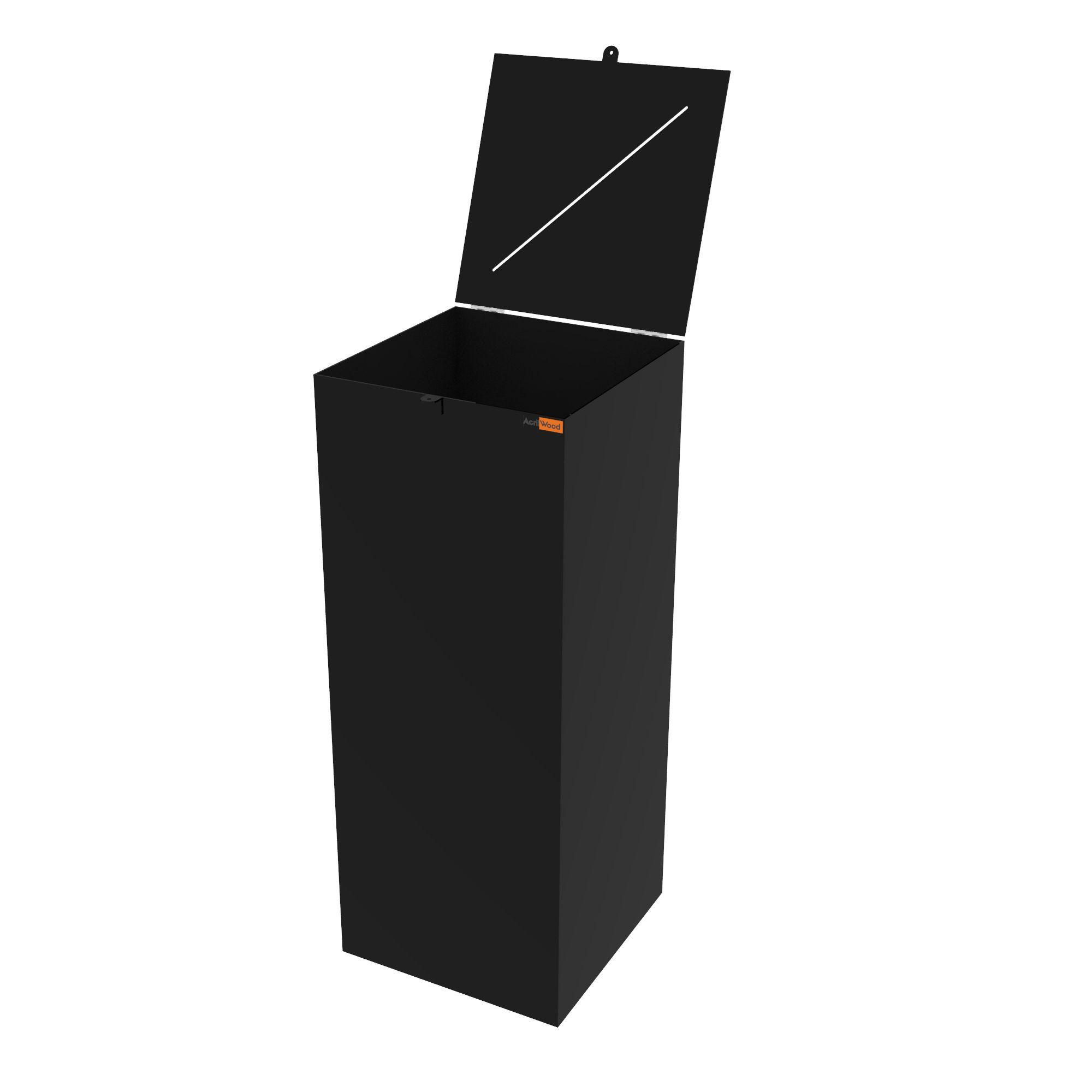 Urna Retangular Em Acrílico Preto - 40x40x100cm