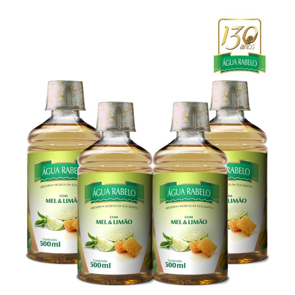 Água Rabelo Tradicional com Mel e Limão Kit 4 uni. 500ml