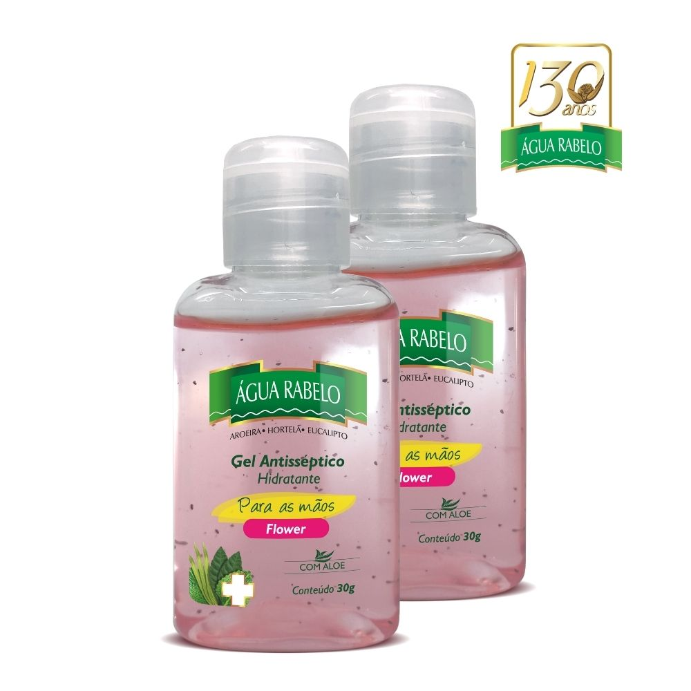 Gel Antisséptico para as mãos Flower 30g Kit 2 uni