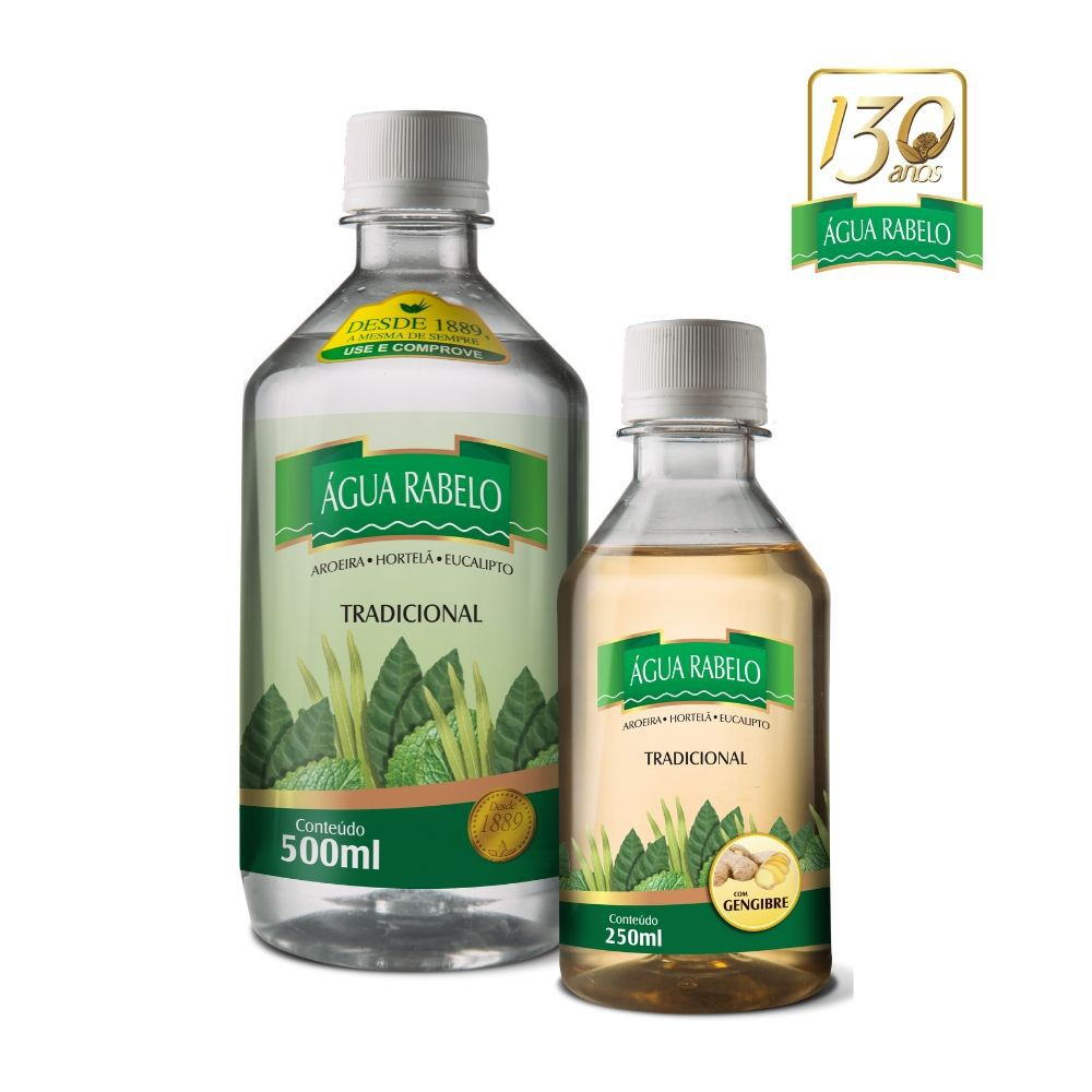 Kit Água Rabelo Tradicional 500ml + Gengibre 250ml