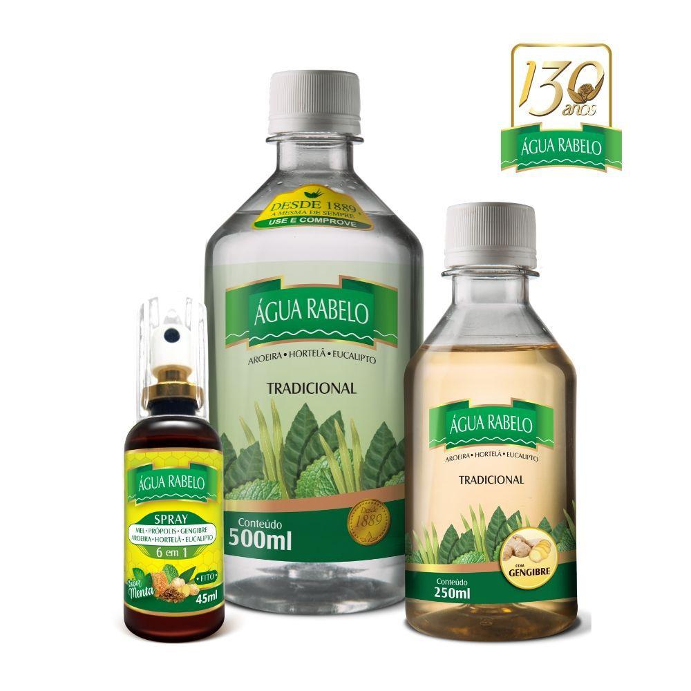 Kit Água Rabelo Tradicional 500ml + Gengibre 250ml + Spray 6 em 1