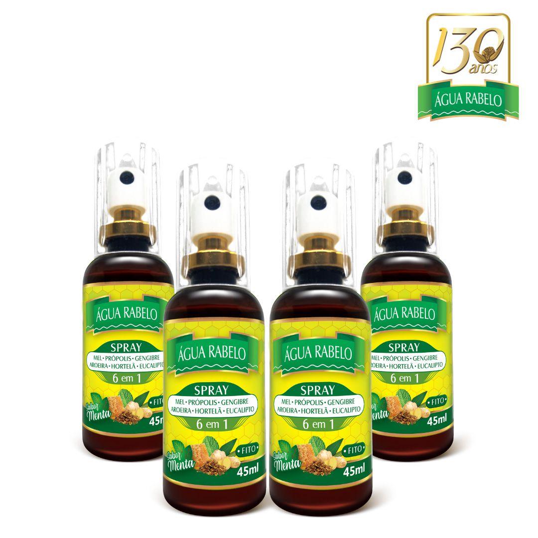 Spray 6 em 1 Água Rabelo 45ml Kit 4 uni.