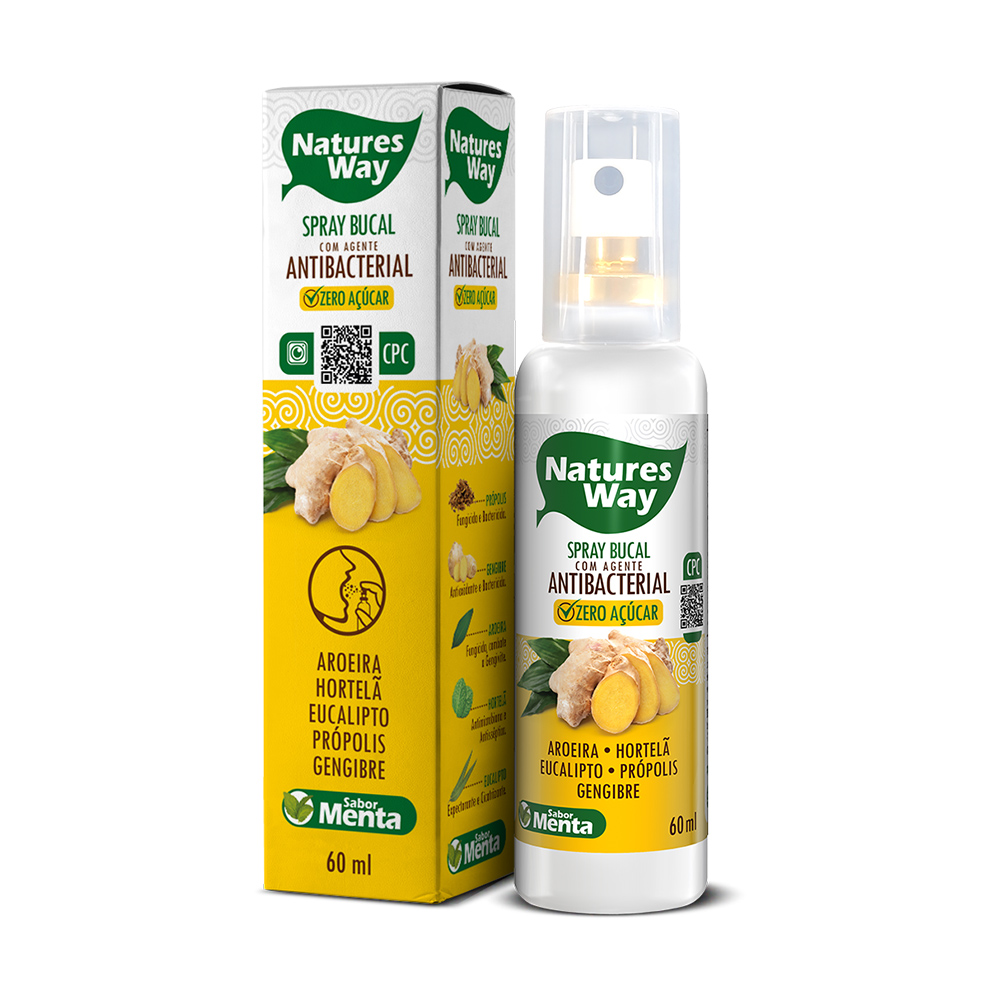 Spray Bucal Antibacteriano de Gengibre com CPC Natures Way 60 ml