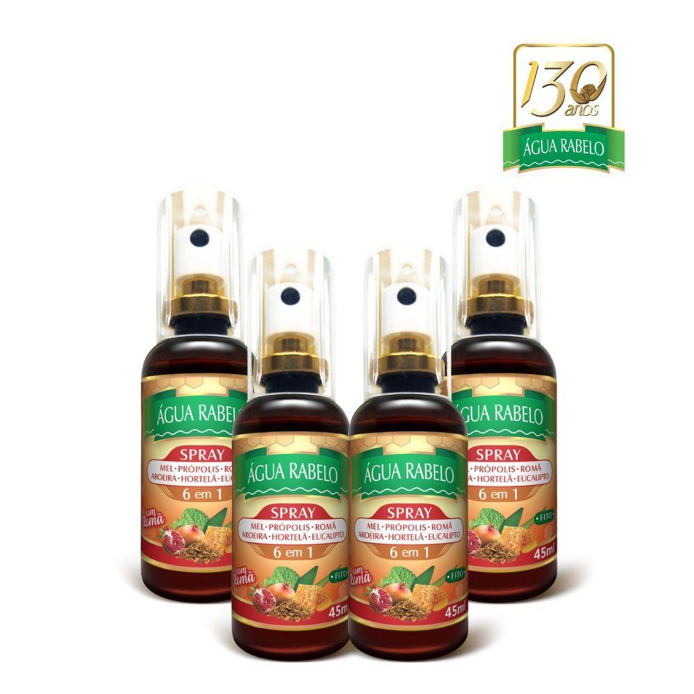 Spray bucal de Romã 45ml Água Rabelo Kit 4 uni.