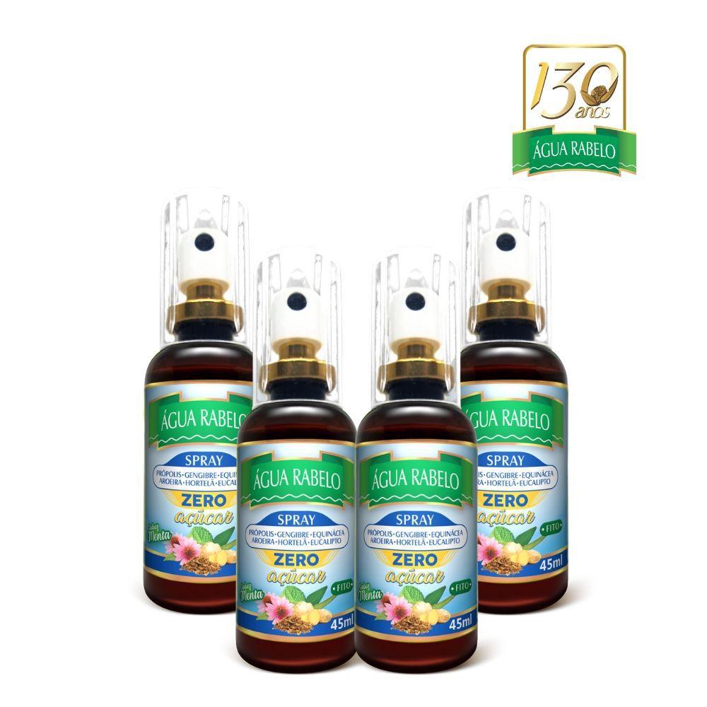 Spray bucal Zero Açúcar 45ml Água Rabelo Kit 4 uni.