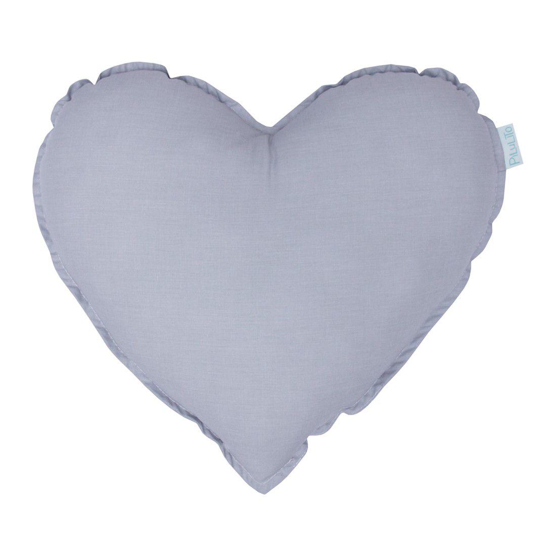 Almofada coração cinza névoa