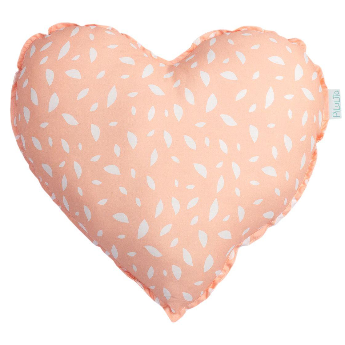 Almofada coração folhas salmão