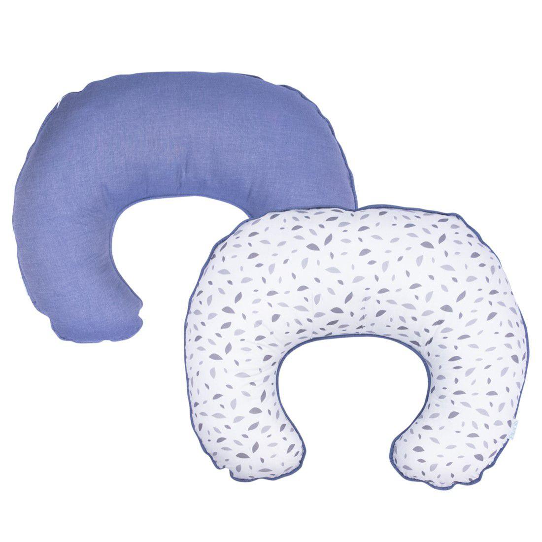 Almofada de amamentação Chão de Folhas Cinza com Azul Jeans