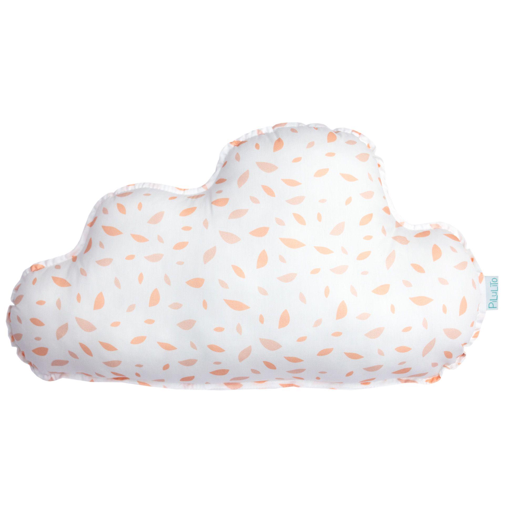 Almofada nuvem grande chão de folhas salmão