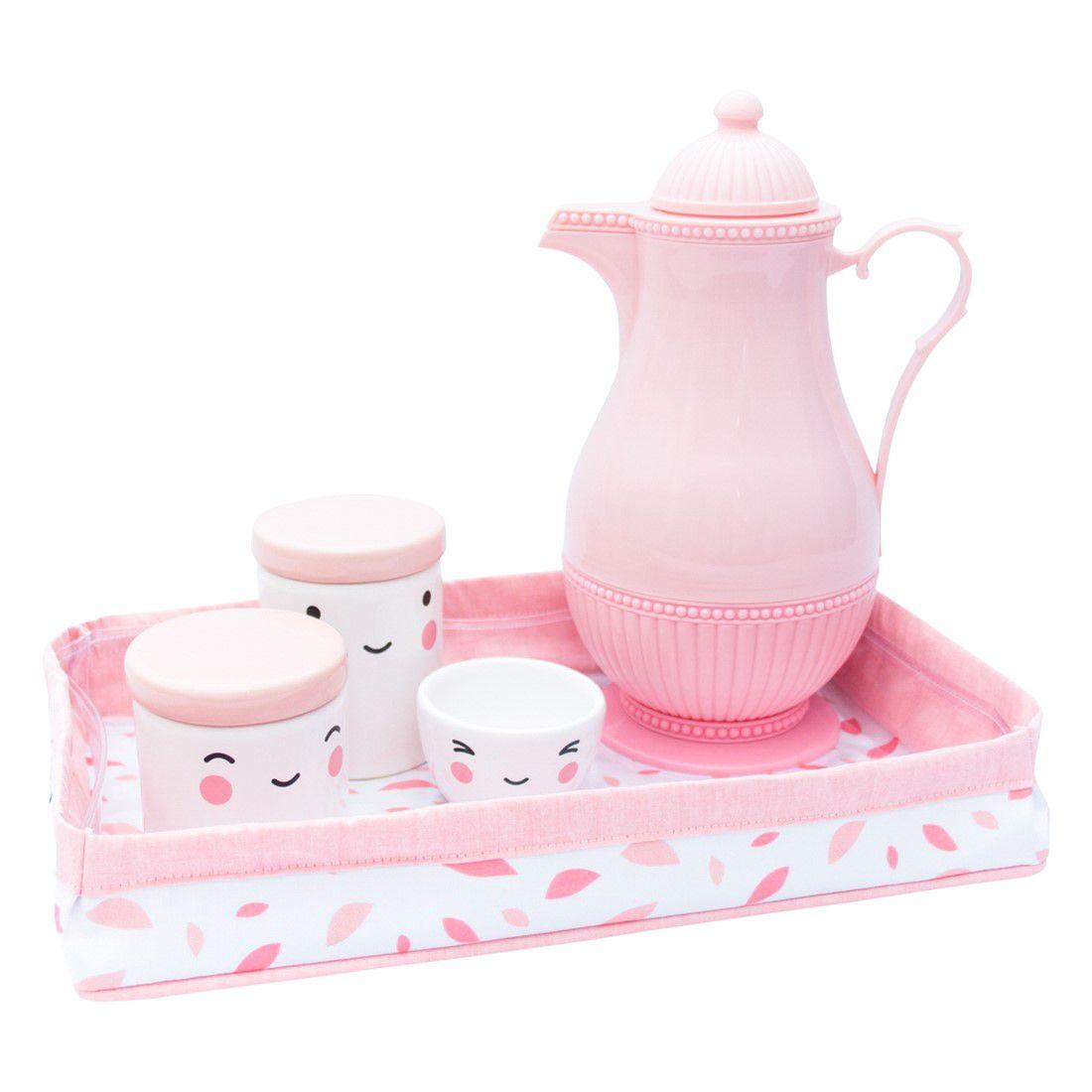 bandeja chão de folhas rosa chá