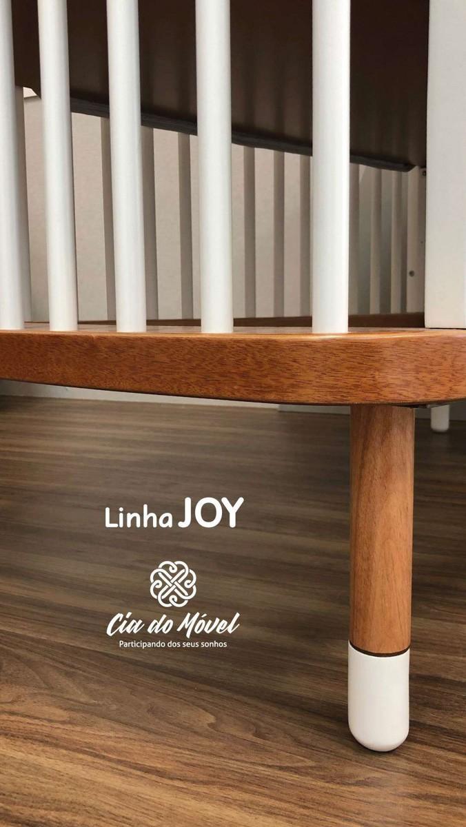 Berço Joy Cia Do Móvel - Cinza e Madeira Jequitibá