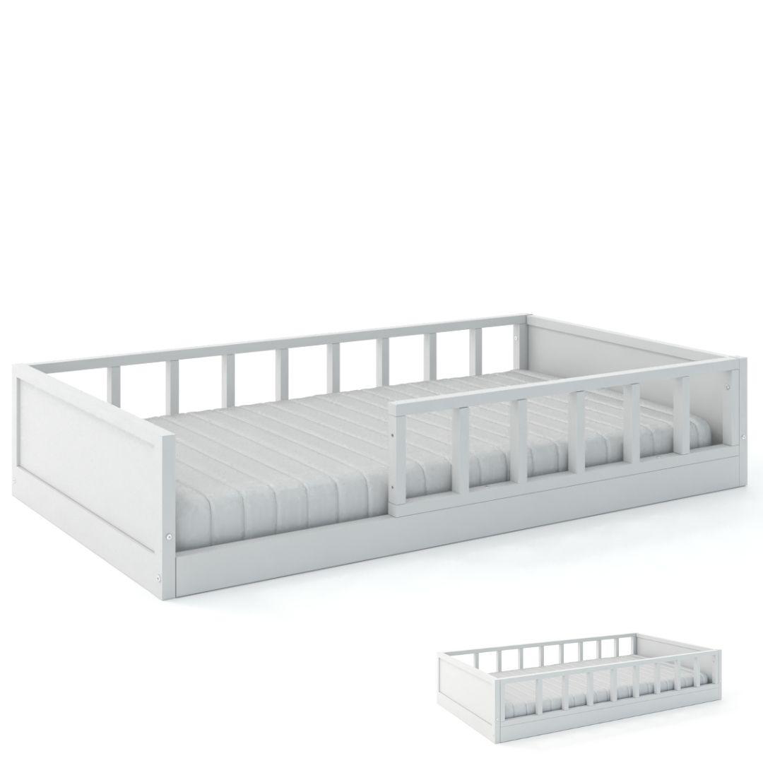 Cama Montessoriana Link V2 Cia Do Móvel - Grade Palitada Branco
