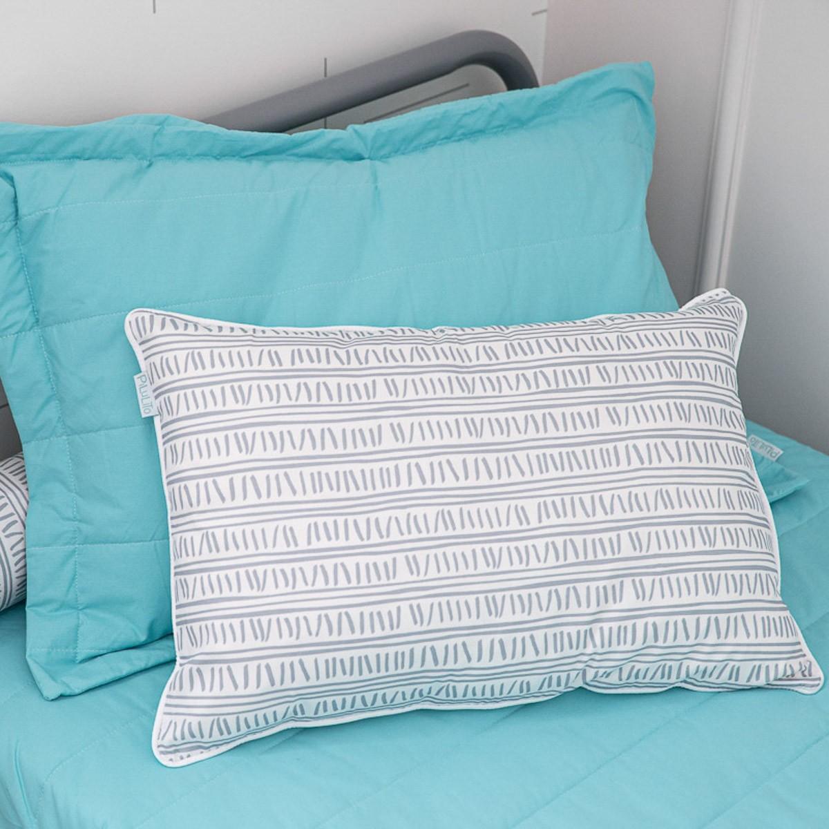Capa de almofada de cabeceira 60x40cm Trilha Cinza Azulado