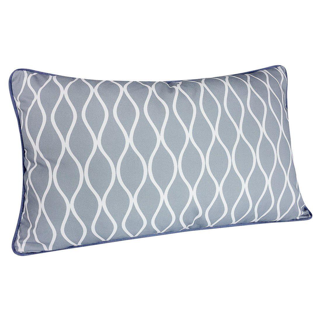 CAPA de almofada de cabeceira ondas cinza  60x40cm com azul jeans