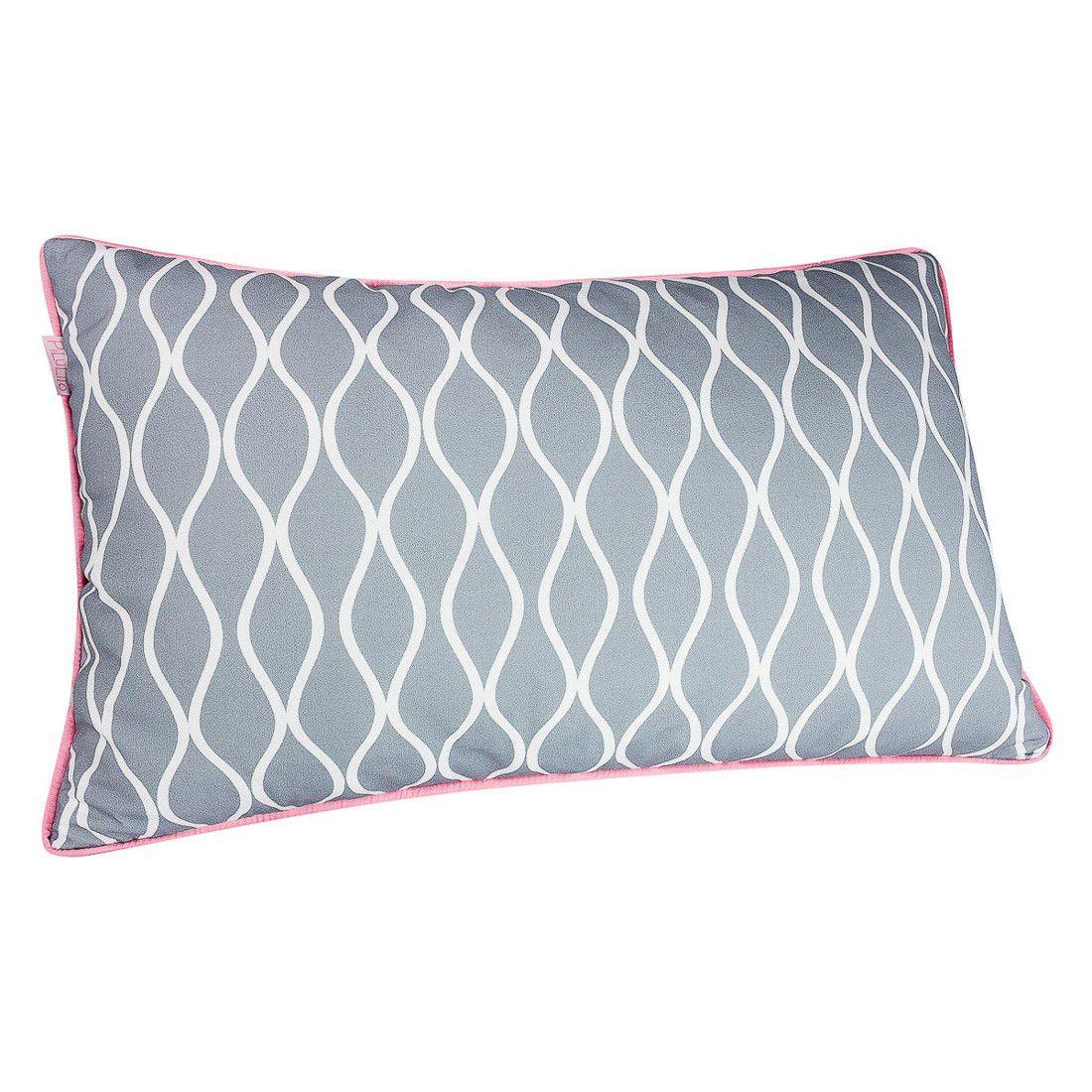 CAPA de almofada de cabeceira ondas cinza  60x40cm com rose quartz