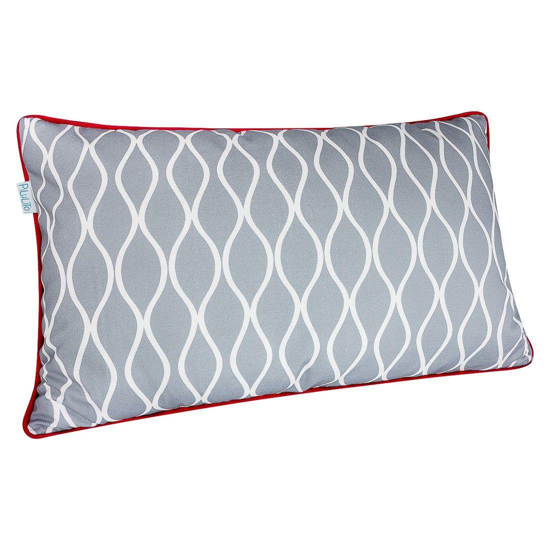 CAPA de almofada de cabeceira ondas cinza  60x40cm com vermelho