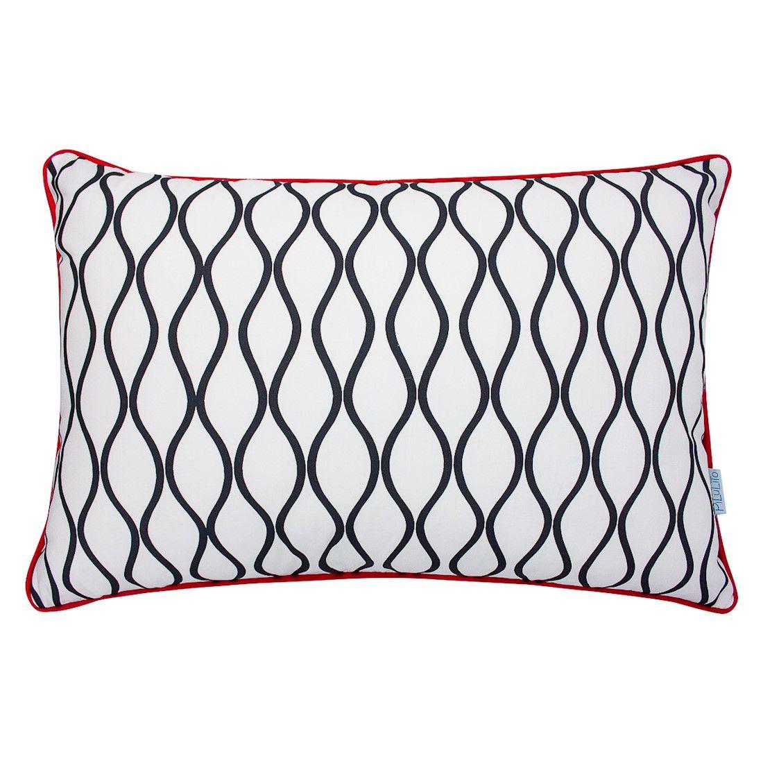 CAPA de almofada de cabeceira ondas PB  60x40cm com vermelho