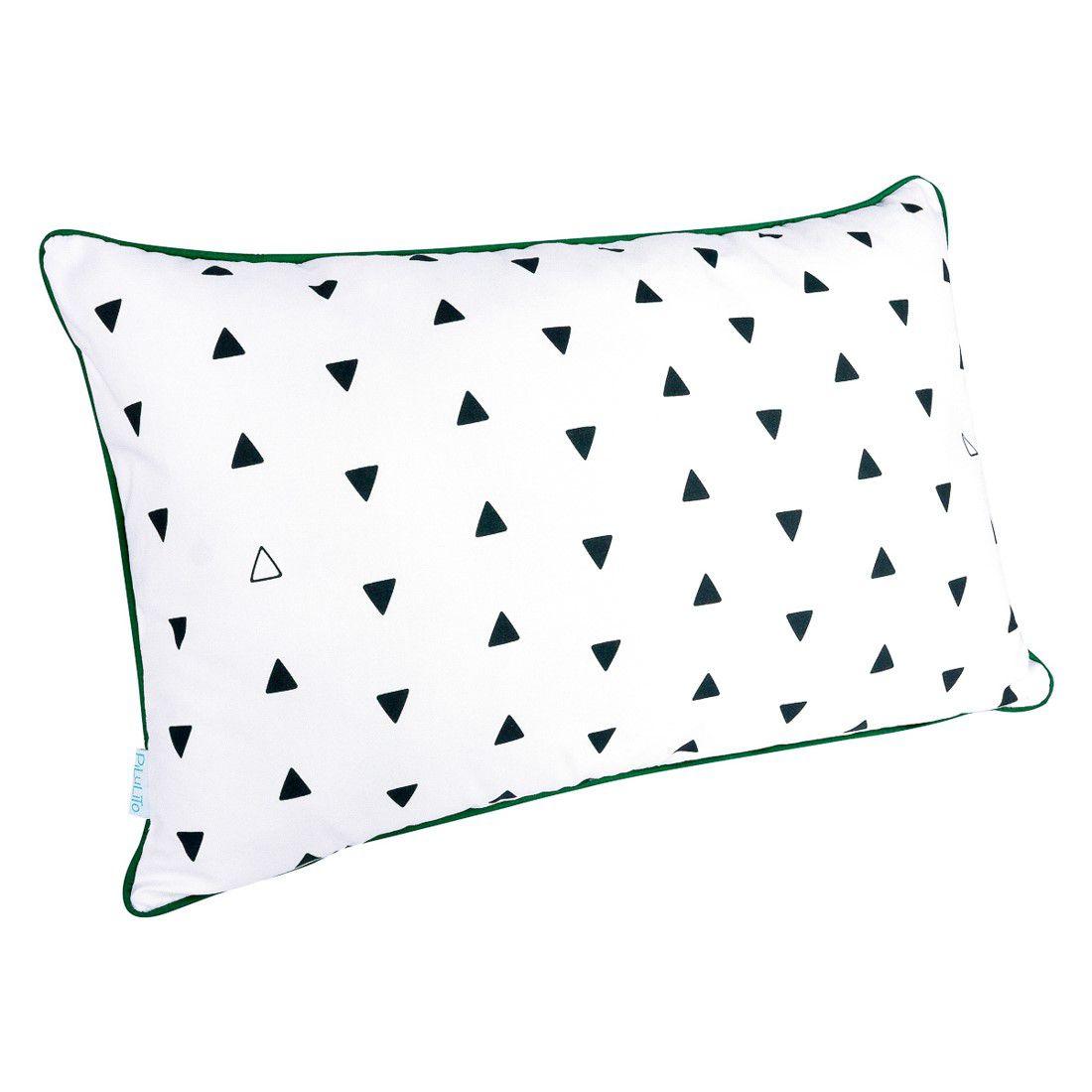 CAPA de almofada de cabeceira triângulos PB  60x40cm com verde malaquita
