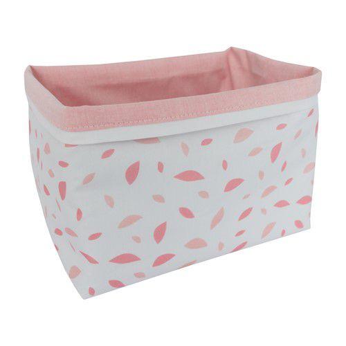 Cestinho organizador chão de folhas rosa chá