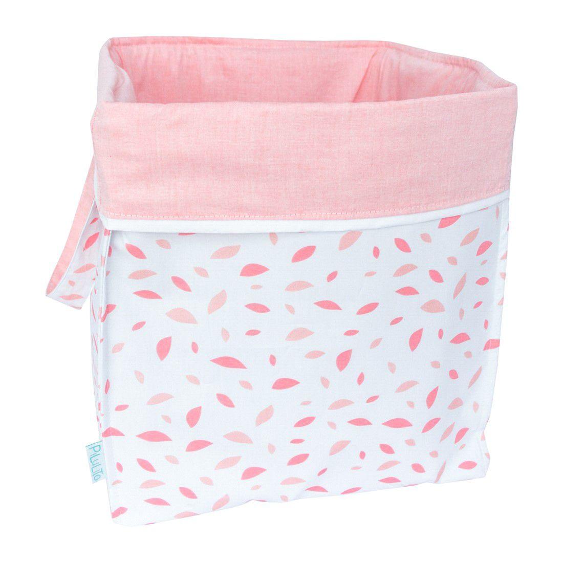 Cesto para brinquedos quadrado chão de folhas rosa chá