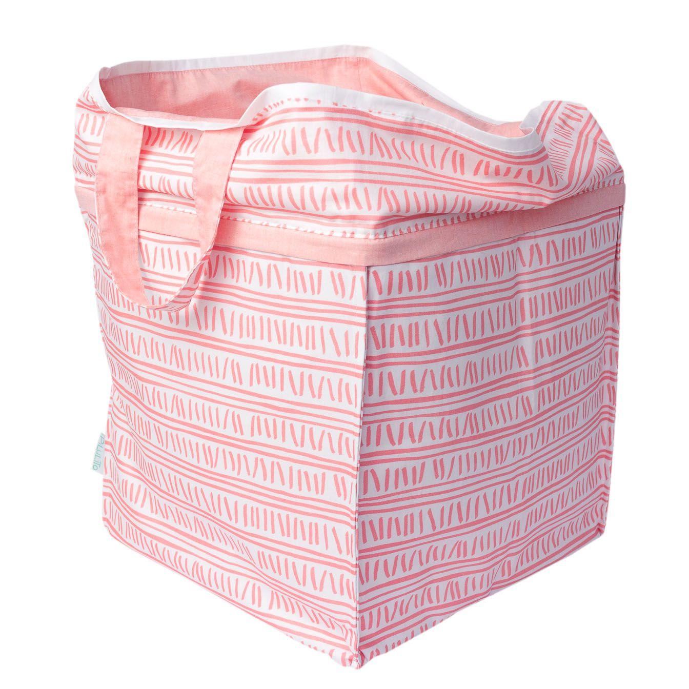 Cesto para brinquedos quadrado trilha rosa
