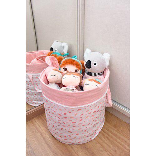 Cesto para brinquedos redondo chão de folhas rosa chá