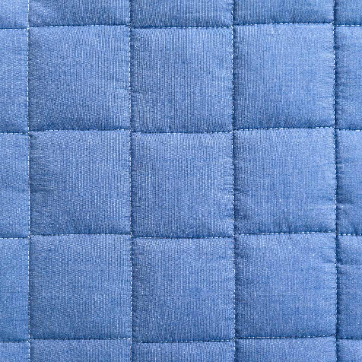 Colcha Com Elástico Chambray Azul Jeans