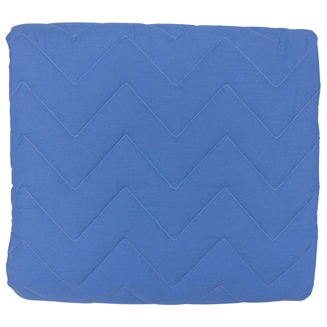 Colcha Com Elástico Percal 200 Fios Chevron Azul Real