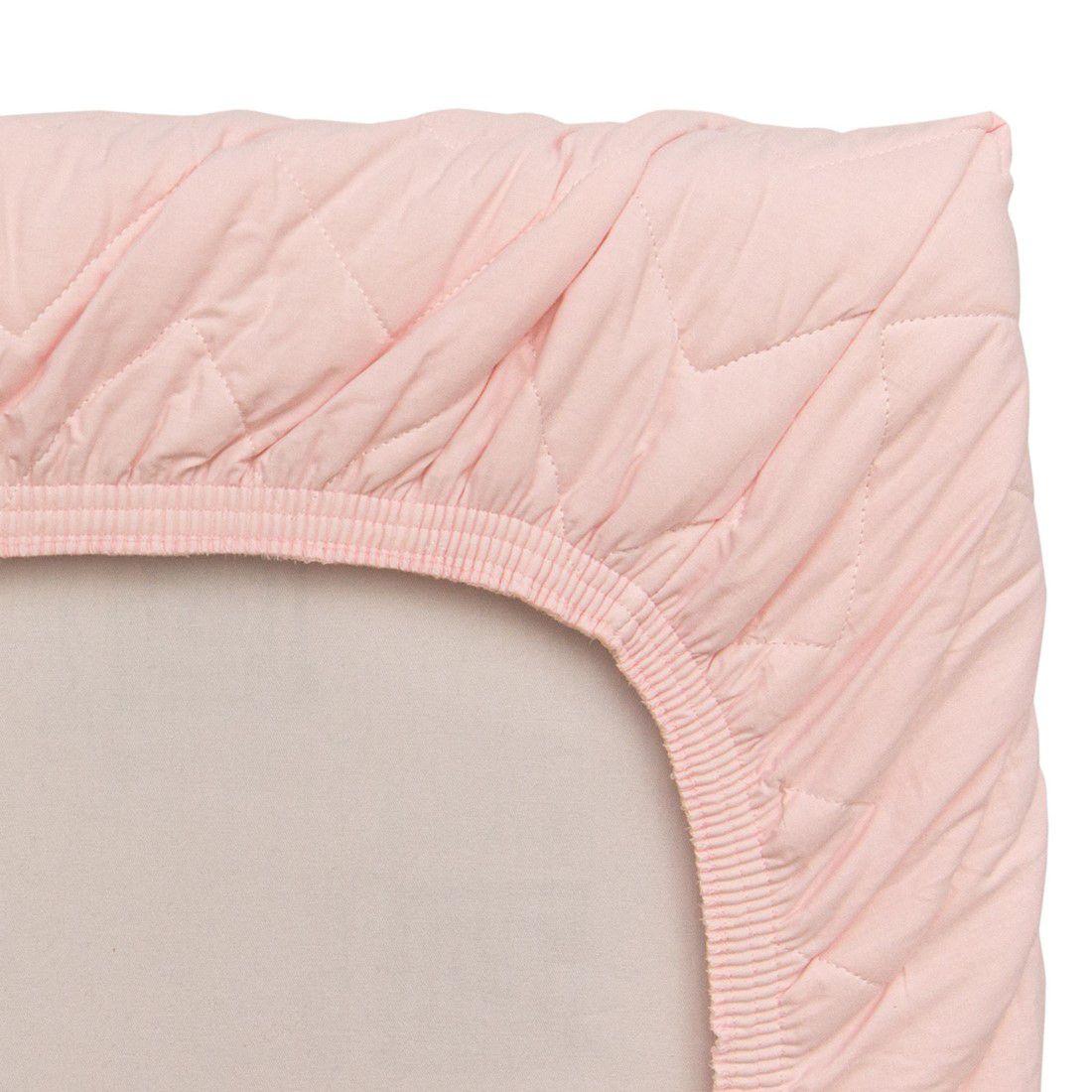 Colcha Com Elástico Percal 200 Fios Chevron Rosa Suave