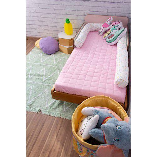 Colcha Com Elástico Berço Percal 200 Fios Cubos rosa claro