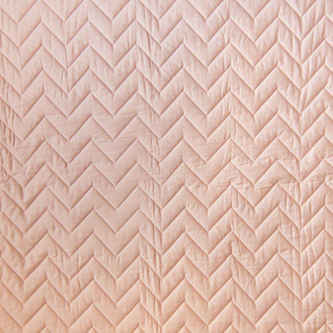 Colcha Com Elástico Percal 300 Fios Acetinado Chevron Rosa Nude