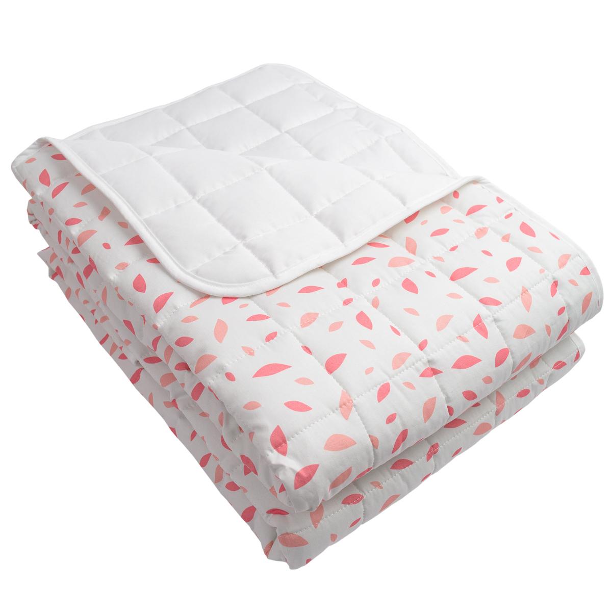 Colcha Dupla Face Chão De Folhas Rosa E Branco (cobre leito)