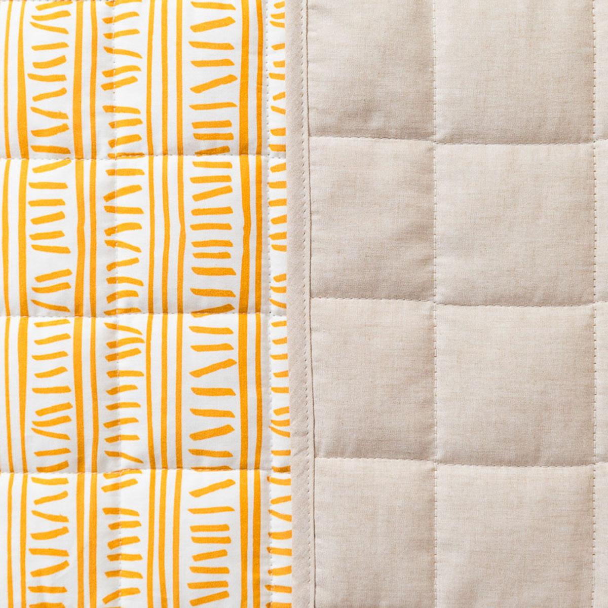 Colcha Dupla Face Trilha Amarelo Ocre  E Linho (cobre leito)