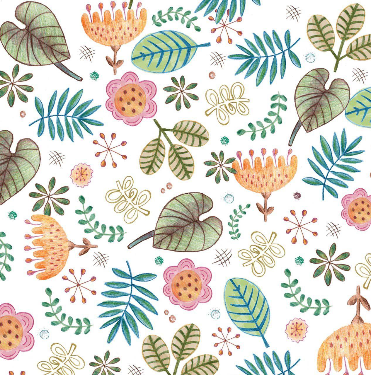 Jogo de lençol Chão De Folhas Chá e Tropicalina