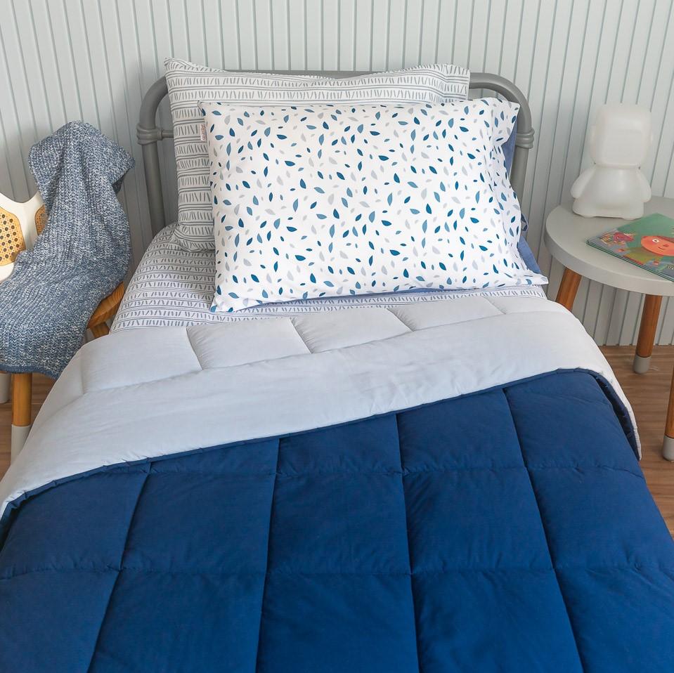 Edredom Dupla Face Percal 200 Fios Azul Marinho E Cinza