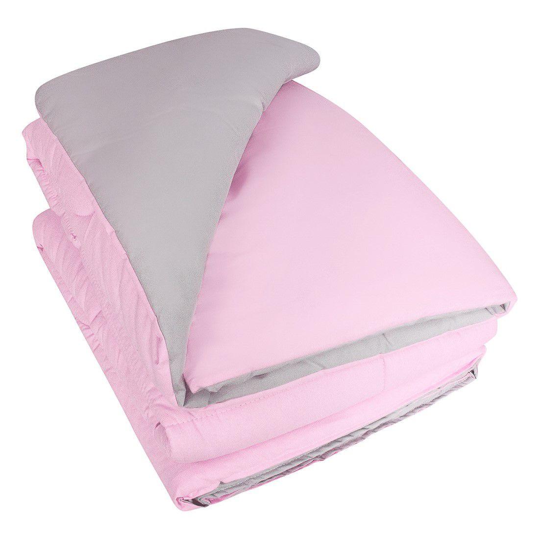 Edredom dupla face rosa claro e cinza