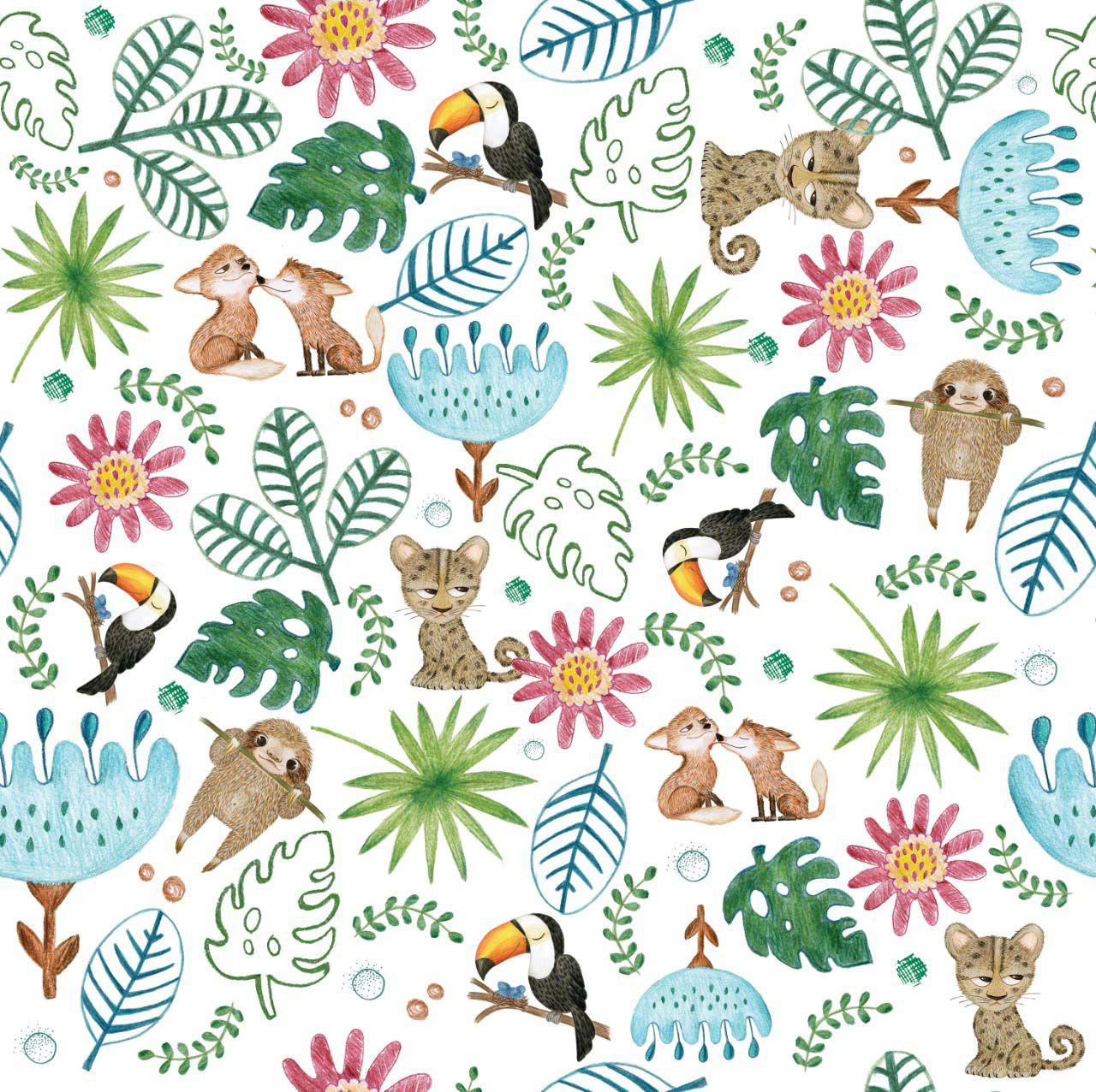 Jogo de lençol Floresta E Oca Azul Céu e Branco