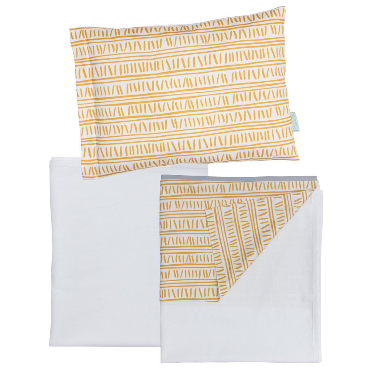Jogo de lençol Trilha Amarelo Ocre e Branco