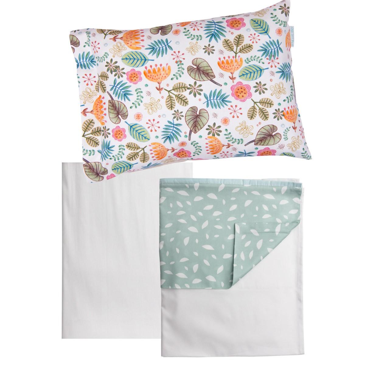 Jogo de lençol Tropicalina e Folhas Verde Malva