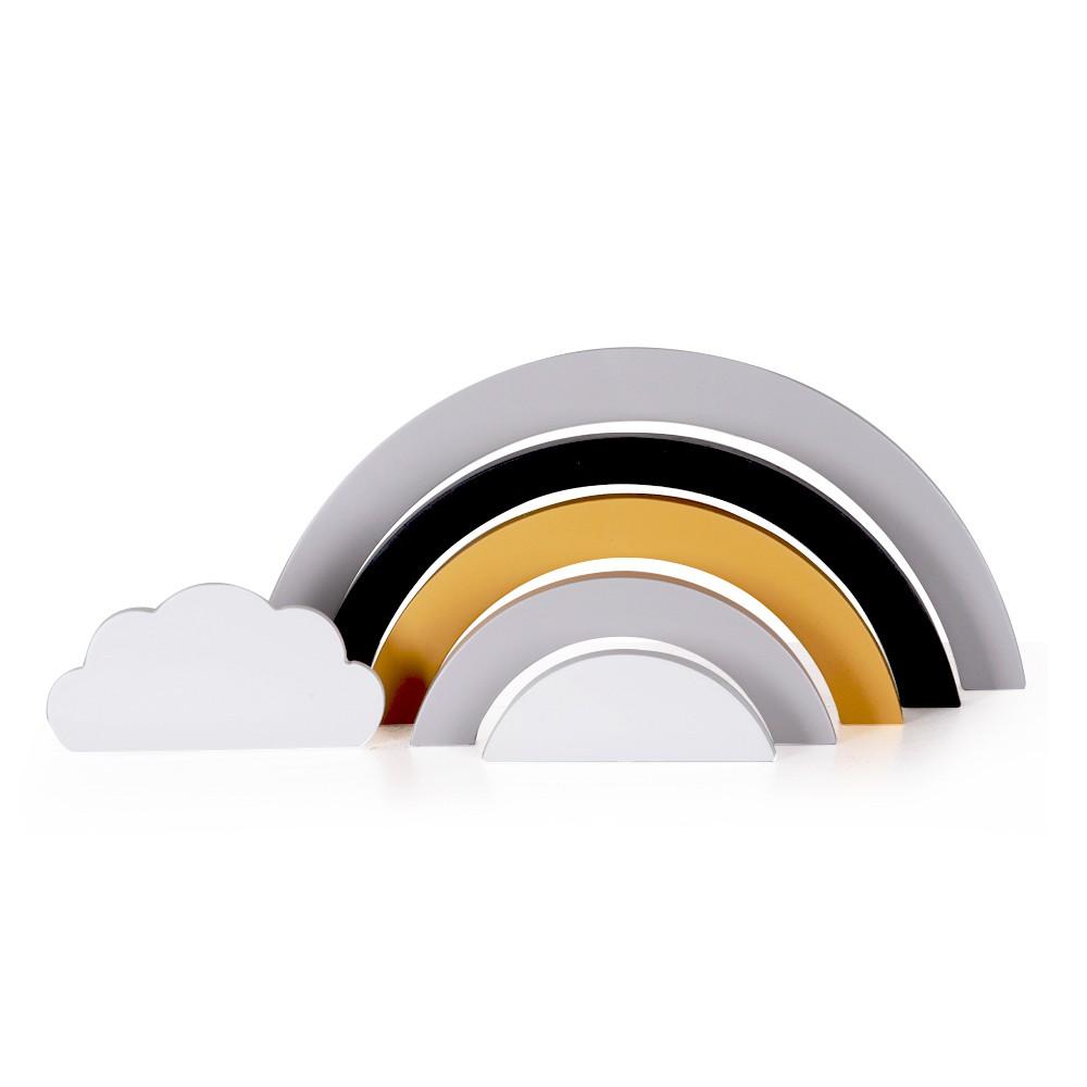Jogo de Madeira Arco Íris P&B e Amarelo com Nuvem