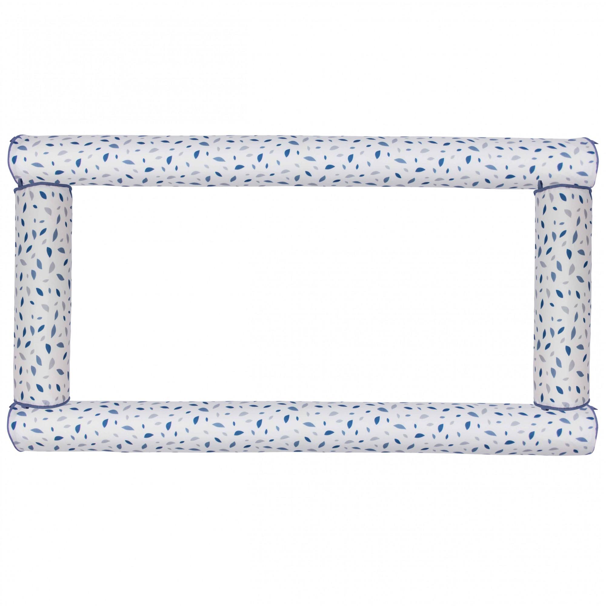 Kit Berço Rolos chão de folhas azul (4 peças)