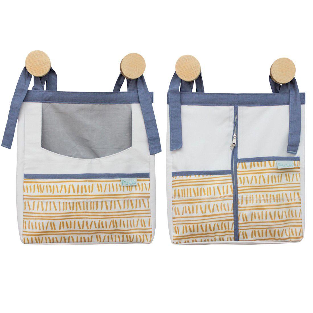 Kit Organizadores Trilha Amarelo Ocre E Azul Jeans
