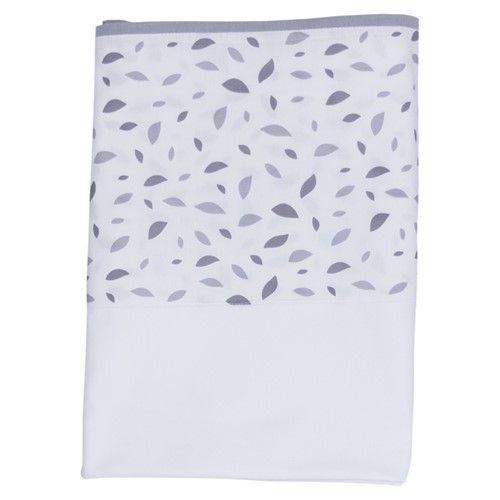 Lençol branco com vira chão de folhas cinza